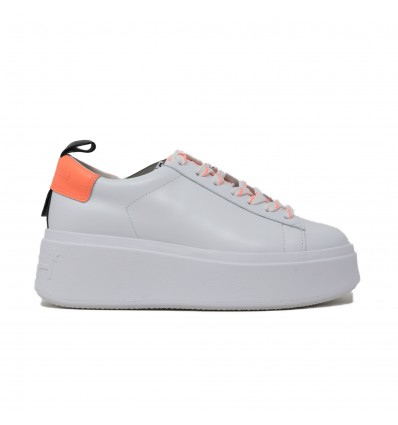 ASH moon deep coral sneaker leather white