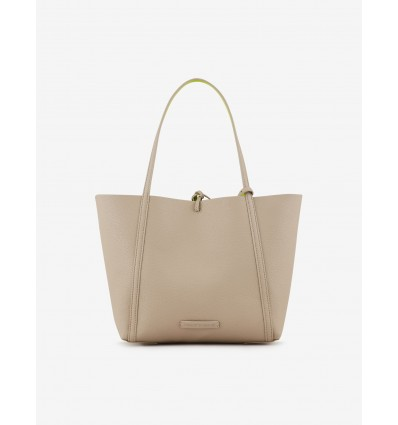 Armani Exchange borsa shopping double beige verde fluo