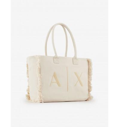 Armani Exchange borsa tessuto beige