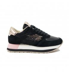 SUN68 kate velvet paillettes nero rosa sneakers donna
