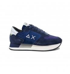 SUN68 kate animal velvet navy blue sneakers donna
